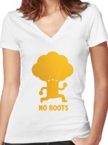 NO ROOTS Women's Fitted V-Neck T-Shirt