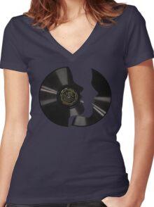 Vinyl Profile Women's Fitted V-Neck T-Shirt