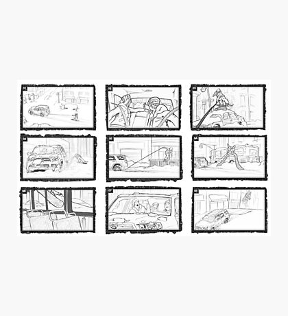 Street Snowboarding Snowday - Comic Strip Photographic Print