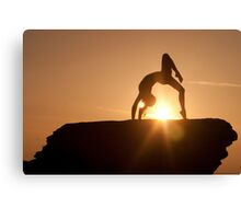 Yoga Poses at Sunset 2 Canvas Print