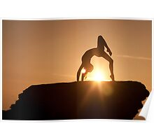 Yoga Poses at Sunset 2 Poster