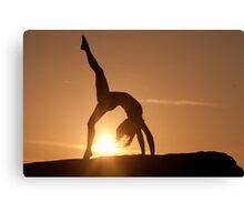Yoga Poses at Sunset 3 Canvas Print