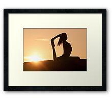 Yoga Poses at Sunset 7 Framed Print