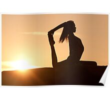 Yoga Poses at Sunset 7 Poster