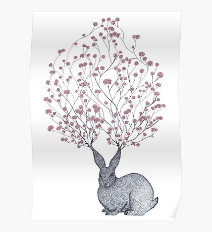 Blossom Heart Bunny Poster