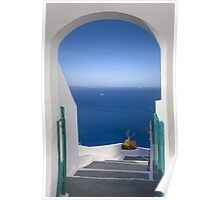Santorini Images, Doorway to the Sea in Oia, Greece Poster