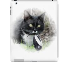 Black cat catching computer mouse iPad Case/Skin