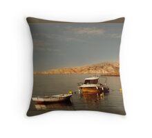 Boats at Small Harbor Throw Pillow