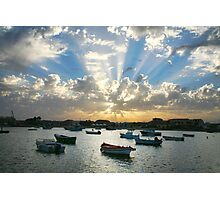 Boats on the sea and rays of light  Photographic Print
