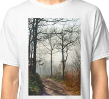 Winter tree silhouette in great fog, nature concept Classic T-Shirt