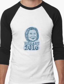 Hillary Clinton President 2016 Drawing Men's Baseball ¾ T-Shirt