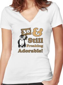 Cute 30th Birthday Gift For Women Women's Fitted V-Neck T-Shirt