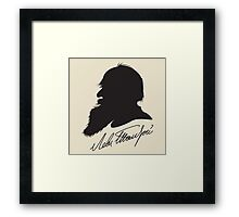 Leo Tolstoy profile portrait and signature Framed Print