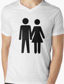 Man and Woman Mens V-Neck T-Shirt