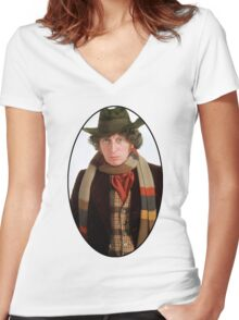 Tom Baker (4th Doctor) Women's Fitted V-Neck T-Shirt