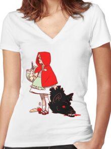 Little Red Hood Women's Fitted V-Neck T-Shirt