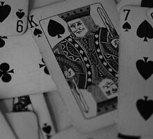 Playing Cards Black & White KING OF SPADES  by MJWills26