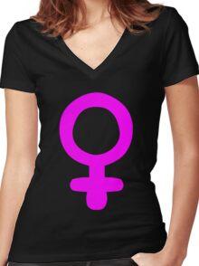 Feminism Symbol Women's Fitted V-Neck T-Shirt
