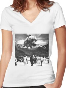 Attack of the Pit bull Women's Fitted V-Neck T-Shirt