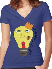 I am not amused! - Queen Victoria lightbulb Women's Fitted V-Neck T-Shirt