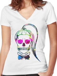 Born This Way Splatter Women's Fitted V-Neck T-Shirt