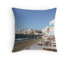 cafe by the sea Throw Pillow