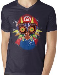 Mario wearing Majora's Mask Mens V-Neck T-Shirt