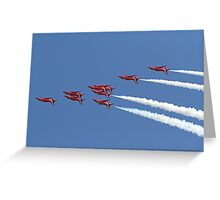 The Red Arrows fly upside down at Airbourne in Eastbourne Greeting Card