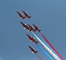 The Red arrows display at Air Bourne Eastbourne by Keith Larby