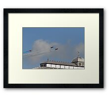 The Red arrows fly over the pier at Airbourne in Eastbourne Framed Print
