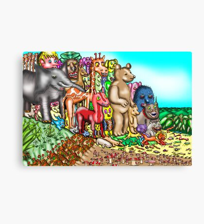 Creatures mount protest against humans Canvas Print