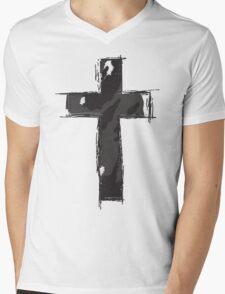 Camo Cross Mens V-Neck T-Shirt