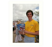 A programme seller at Airbourne in Eastbourne Art Print