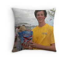 A programme seller at Airbourne in Eastbourne Throw Pillow