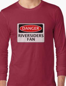 DANGER BLACKBURN ROVERS, RIVERSIDERS FAN, FOOTBALL FUNNY FAKE SAFETY SIGN Long Sleeve T-Shirt