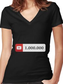 YouTube 1 Million Subscribers Women's Fitted V-Neck T-Shirt