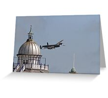 The Lancaster flies across the pier in Eastbourne Greeting Card