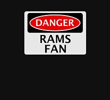 DANGER DERBY COUNTY, RAMS FAN, FOOTBALL FUNNY FAKE SAFETY SIGN Womens Fitted T-Shirt
