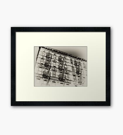 Old NYC tenement house, old sepia postcard Framed Print