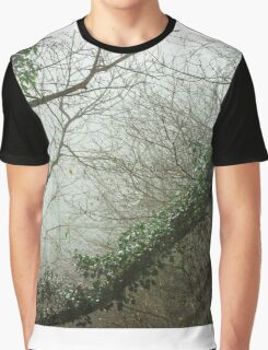 Winter tree silhouette in great fog, natur concept Graphic T-Shirt