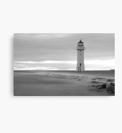 Fort Perch Rock Lighthouse Black and white Canvas Print