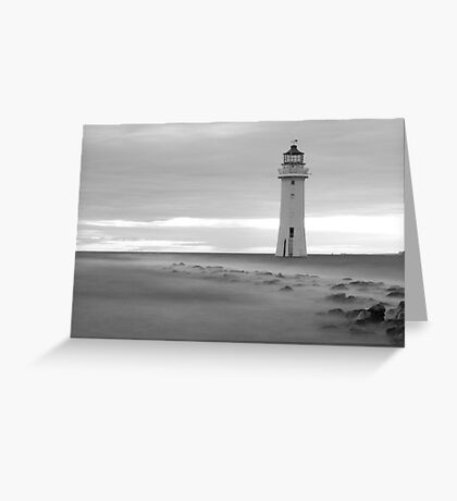 Fort Perch Rock Lighthouse Black and white Greeting Card