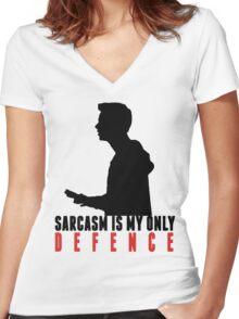 Stiles Stilinski - Sarcasm is my only defence Women's Fitted V-Neck T-Shirt