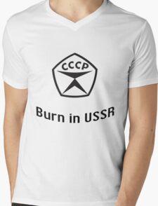 Burn in USSR Mens V-Neck T-Shirt