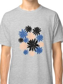 Pink, Blue and Black Floral Pattern Classic T-Shirt