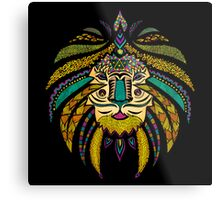 Emperor Tribal Lion Black Metal Print