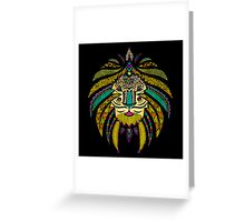 Emperor Tribal Lion Black Greeting Card