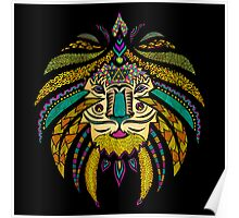 Emperor Tribal Lion Black Poster