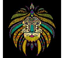 Emperor Tribal Lion Black Photographic Print