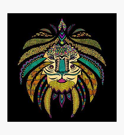 Emperor Tribal Lion Black Photographic Print